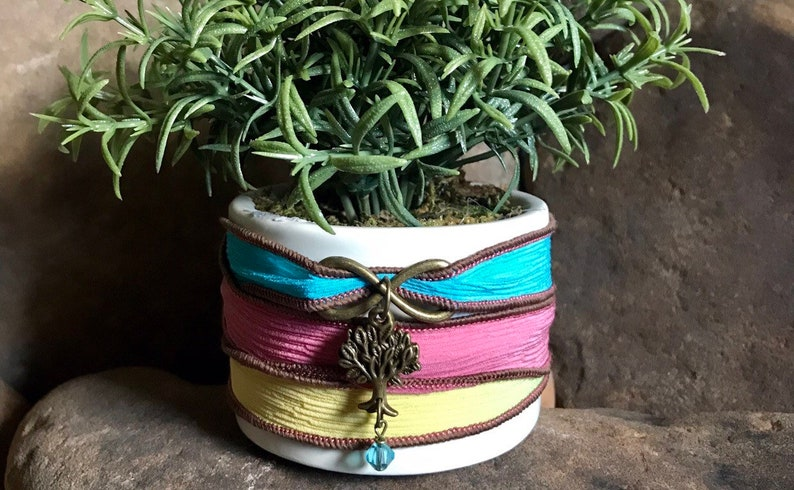 Hippie silk wrap bracelet upper arm band tattoo cover up body anklet infinity tree by Bohemian Earth Designs Etsy FREE Shipping US