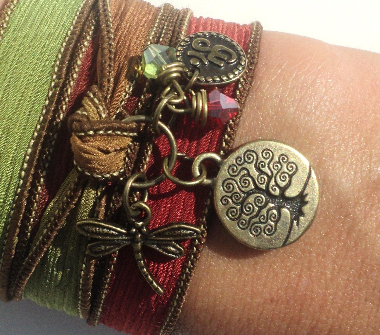 Silk Wrap Bracelet, Yoga, Jewelry, Tree of Life, Dragonfly, Om, Namaste, Bohemian Jewelry, Autumn, Fall, Fall Fashion, Unique Gift Under 50