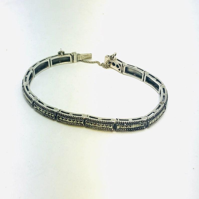 Marcasite  Design Sleek Geometric Rectangles STERLING Silver LINK BRACELET Hallmarked Designer Heart Safety Clasp