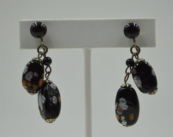 Vintage Screw Back Earrings Black Floral Dangle
