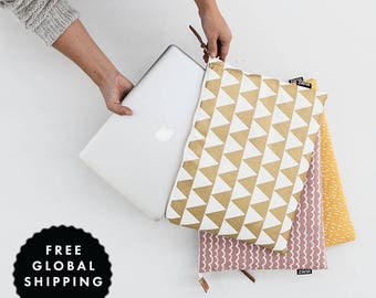 Laptop Sleeve -  Cute work bag Gift for her Gold Triangle - MacBook Case One Size Fits Most