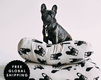 Floor Cushion Frenchie Pattern French Bulldog design - Modern Dog Bed - Pouf Cover - Kiddies Ro