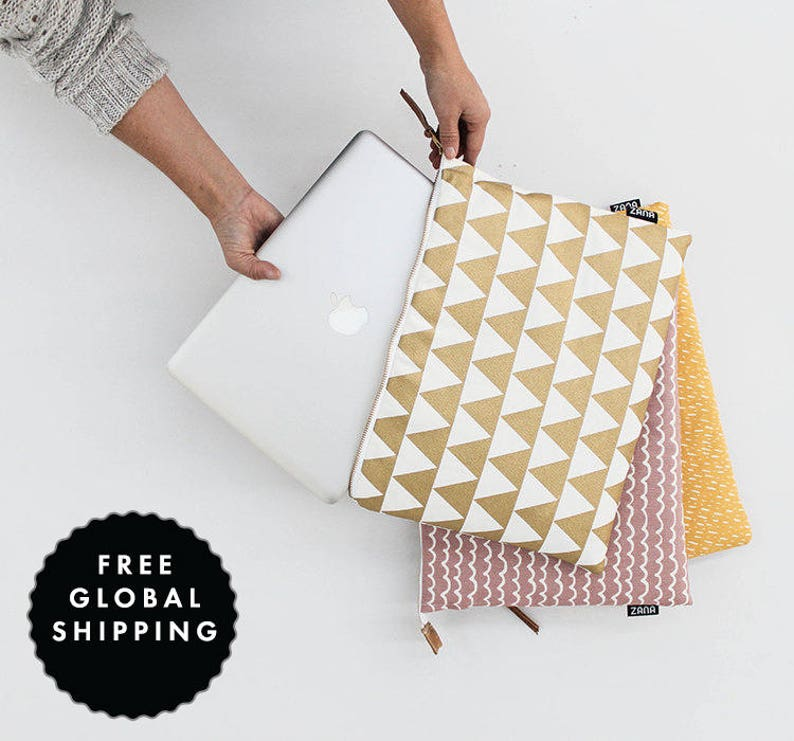 Laptop Sleeve   Cute work bag Gift for her Gold Triangle  image 0