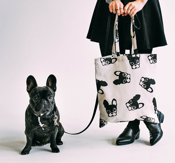 Franse Bulldog Patroon Tote Tas Frenchie Design Boston Etsy