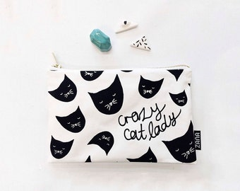 Crazy Cat Lady Pouch - Cosmetics Pouch for Cat Lady . Modern Small Make Up Purse or Pouch. Cat Pattern.