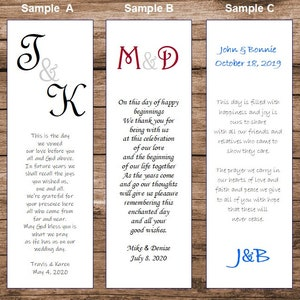 Arrow 100 Wedding personalized and printed Bookmarks Favor
