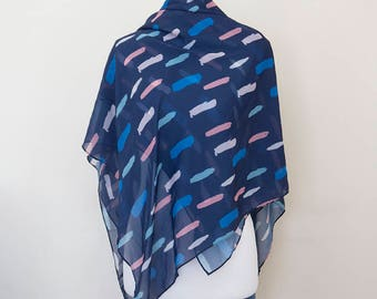 Abstract blue paint supersoft scarf - hand painted designs BLUE