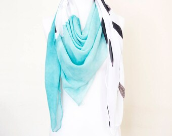 Watercolour supersoft scarf - hand painted designs AQUA