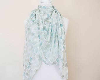 Green leaves supersoft scarf - hand-painted designs GREEN LEAVES