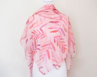 Pink palms supersoft scarf - hand-painted designs PINK PALMS