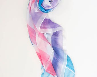 Watercolour stripe supersoft scarf - hand-painted designs WC STRIPE