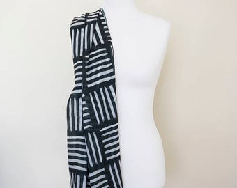 Black and white supersoft scarf - hand-painted designs BLACK