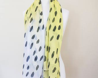 Yellow watercolour supersoft scarf - hand-painted designs YELLOW WC