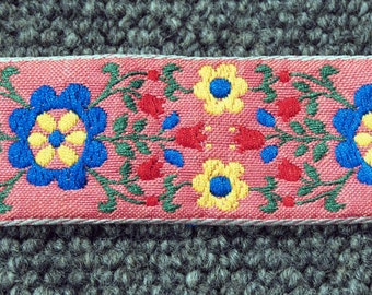 Extra wide pink Scandinavian folk floral woven cotton jacquard trim ribbon - 1 yard