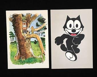 2 Vintage Postcards, Nursery Art, Frameable Art, Cartoons, Child's Room, Childhood Fantasies