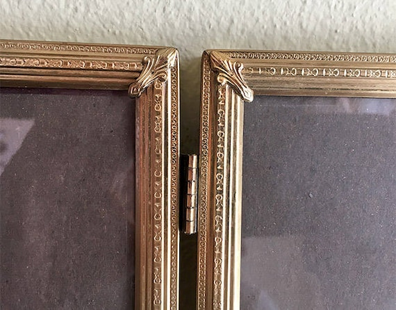Vintage Hinged Double Picture Frame 8x10 Photos