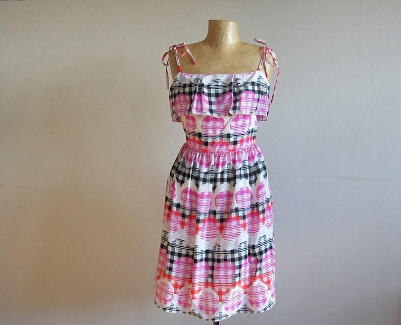 acb97c861c New handmade vintage inspired summer dress pink black cream | Etsy