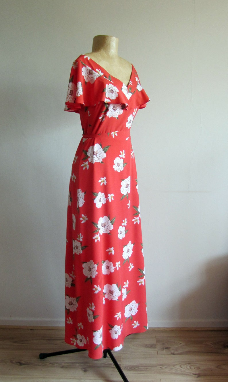 Spring summer. Romantic retro maxi gown V neck wedding guest outfit frill sleeve Vintage inspired 30s 40s style dress red floral print