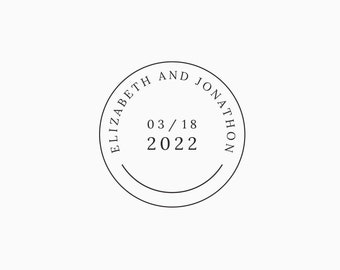 Custom Round Wedding Date Stamp in Rubber or Self Inking |  Personalized for Save the Dates, Invitations, Favors, Thank You Stationery