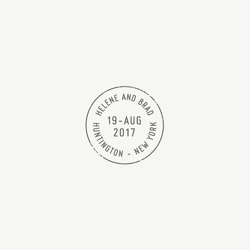 Round Date Custom Wedding Stamp  Save The Date Stamp  image 0