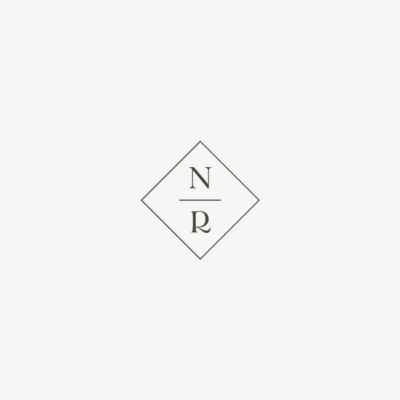 Diamond Monogram  Minimal Logo  Wedding Favor Stamp  Custom image 0