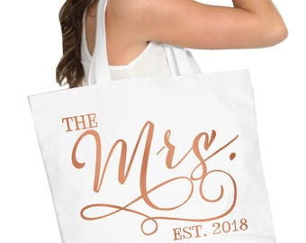 Rose Gold Bride Tote : Mrs 2018 Tote Bag, Jumbo Bride's Tote,  Bridal Shower Gift, Bachelorette Party, Engagement, Wedding Bags,Bridal Totes