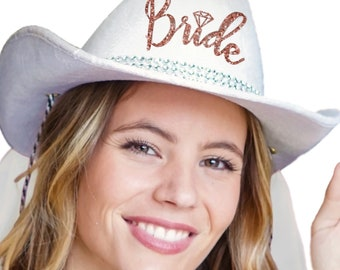Rose Gold Bride Icon Country Western Hat - White Cowboy Hat c0060190c7cc