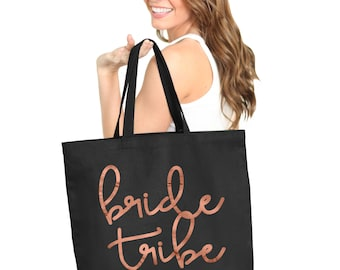 Rose Gold Bride Tribe Tote - Bachelorette Party Supplies, Bridal Party totes, Wedding Party Bags, Bachelorette tote Bags, Maid of Honor