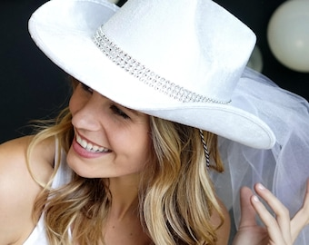 Country Western Bling Band Bride Hat with Veil - Hat with White Veil a5116558f5a8