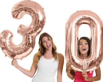 """Giant Rose Gold 30th Birthday Balloon - 16th 21st 40th 50th Birthday balloons, 30th Birthday Decorations, 30th Party Decor, 34"""" Mylar Number"""
