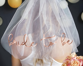 Rose Gold Bride To Be Bachelorette Veil - Double Layer,  Bachelorette Party Veil, Bachelorette Party Supplies, Bridal Shower Decorations
