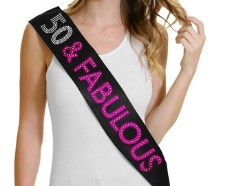 50 Fabulous Hot Pink Foil Black Sash