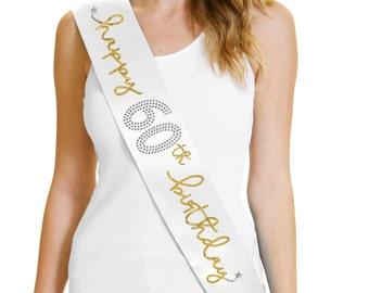 Happy 60th Birthday Gold Foil White Sash