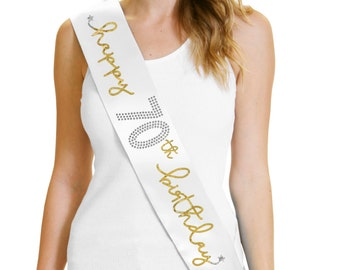 Happy 70th Birthday Gold Foil White Sash