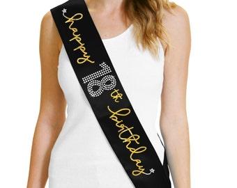 Happy 18th Birthday Gold Foil Black Sash