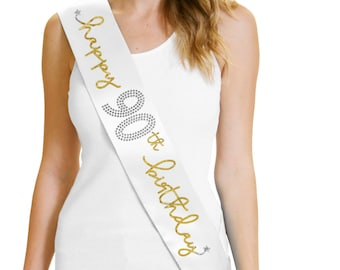 Happy 90th Birthday Gold Foil White Sash