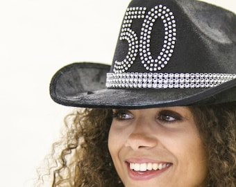 50th Birthday Black Western Hat