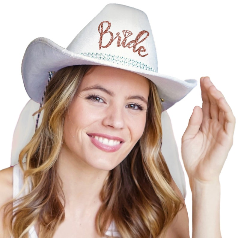 Rose Gold Bride Icon Country Western Hat White Cowboy  ecdb742d865a
