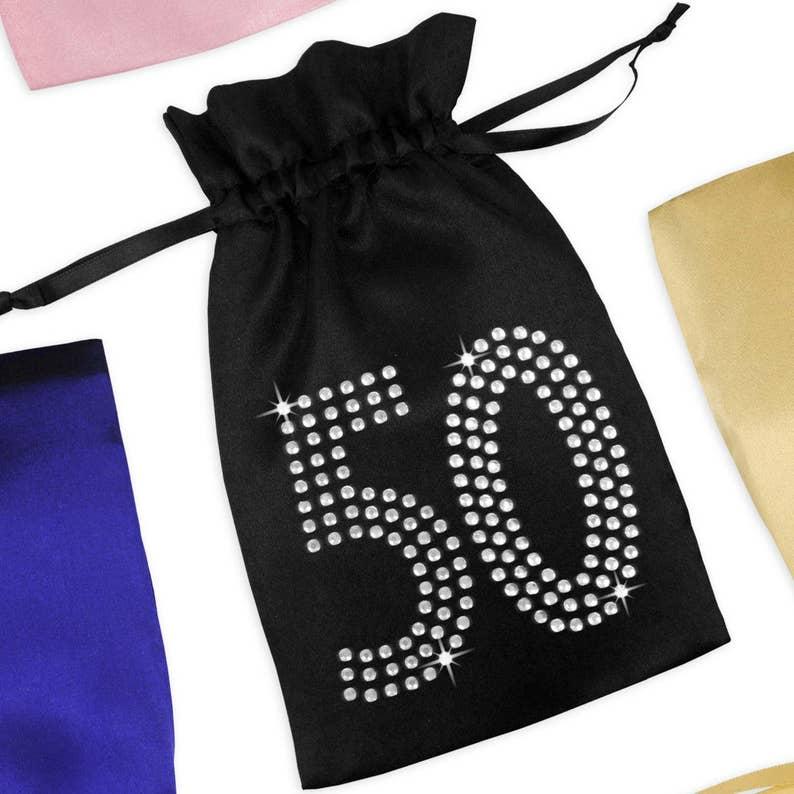 50th Birthday Satin Favor Bag With Rhinestones