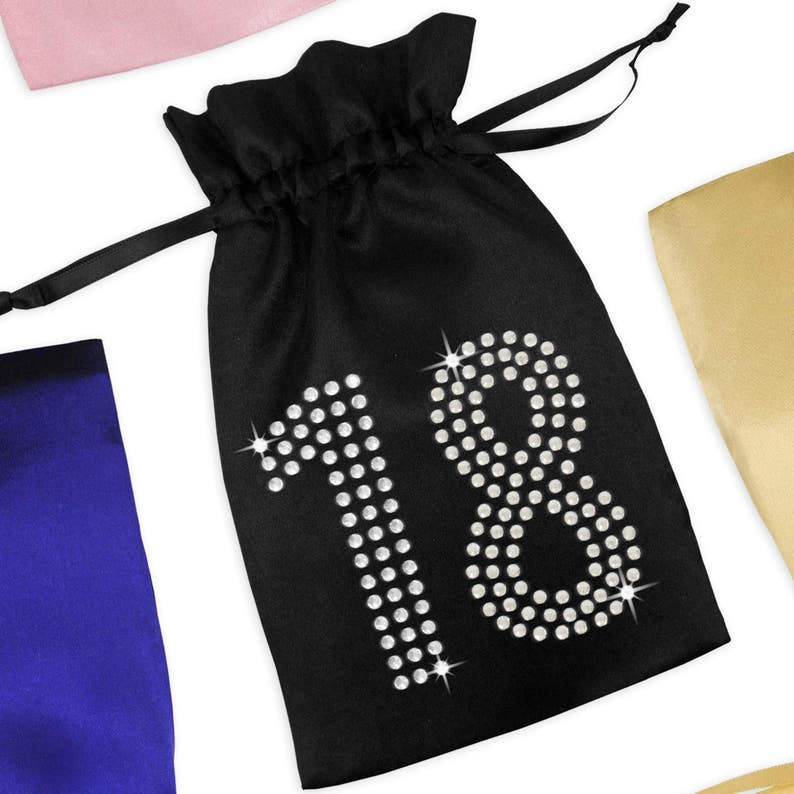 18th Birthday Satin Favor Bag With Rhinestones