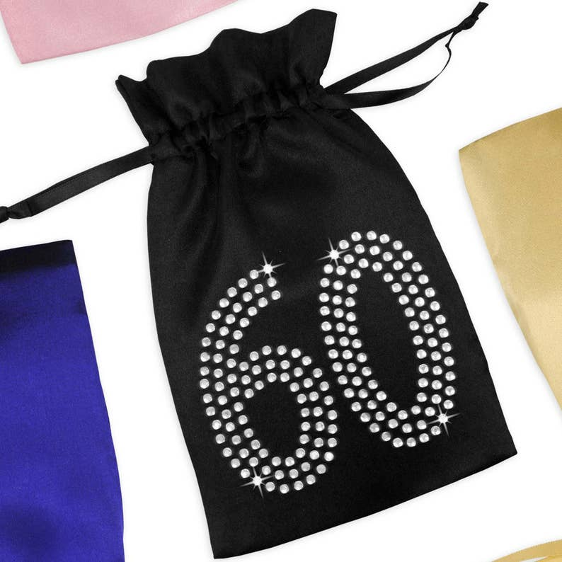 60th Birthday Satin Favor Bag With Rhinestones