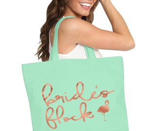 Rose Gold Bride's Flock Tote - Bachelorette Party Supplies, Bridal Party totes, Wedding Party Bags, Bachelorette tote Bags, Flamingo, Beach