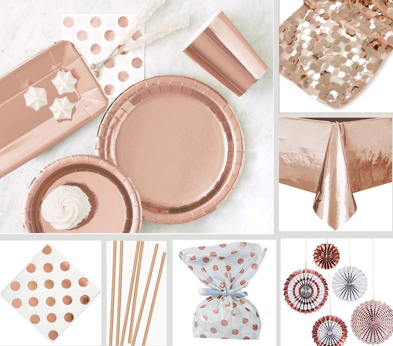Rose Gold Bridal Shower Decorations Rose Gold Table Decor  6ae11a44b7b3