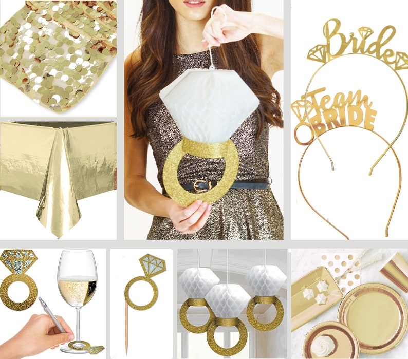 9b219f2adf197 Gold Bridal Shower Decorations - Diamond Party Supplies, Gold Wedding  Decor, Engagement, Gold Party Decoration, Gold Bachelorette Party