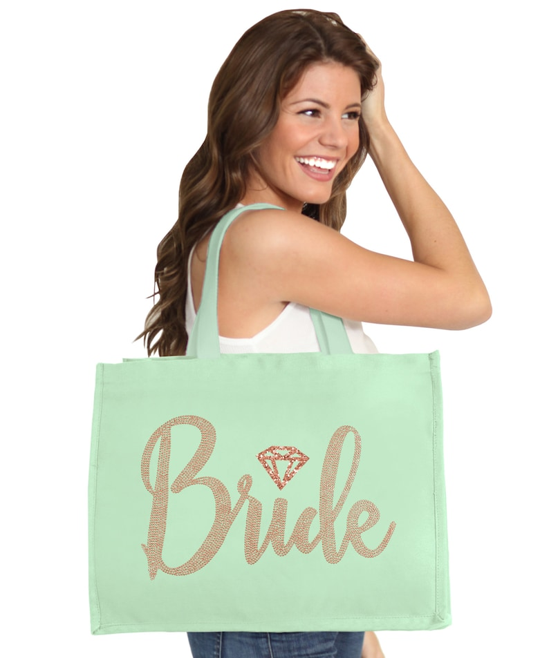 Rose Gold Party Bride Tote Bride Gift Bride To Be Shirt Bride with Diamond Icon Rose Gold Rhinestud Ribbed White Tank Top Bride Shirt