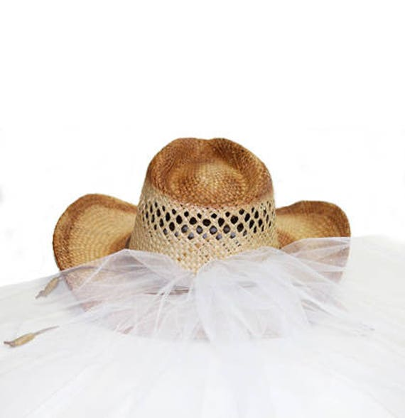 70249712c64 Bride Cowboy Hat Country Western Bride Hat with Veil Straw