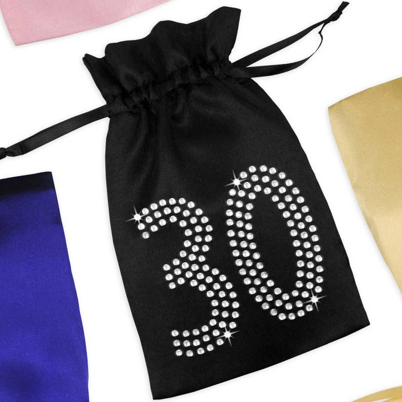 30th Birthday Satin Favor Bag With Rhinestones