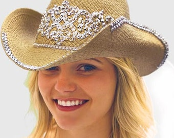 Scroll Bling Natural Straw Western Hat w/Veil - Cowgirl Bride Hat, Western Party Supplies, Bachelorette Party Cowboy Hats, Bridal Hats