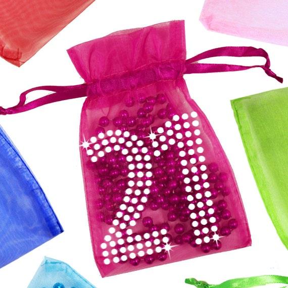 21st Birthday Organza Bag With Rhinestones Party