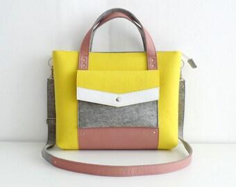 Felt Leather Handbag Yellow Pink Gray White